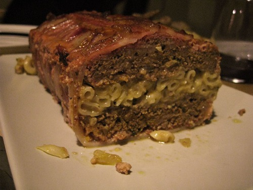Macaroni-and-cheese stuffed, bacon-wrapped meatloaf